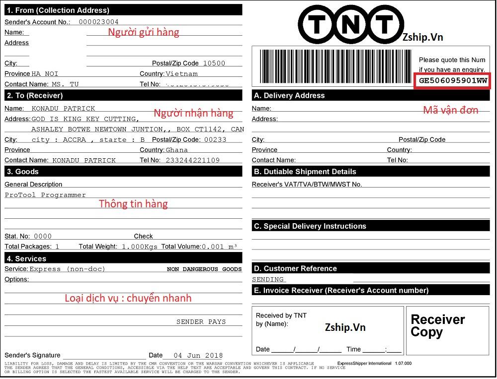 Hướng dẫn đọc bill TNT