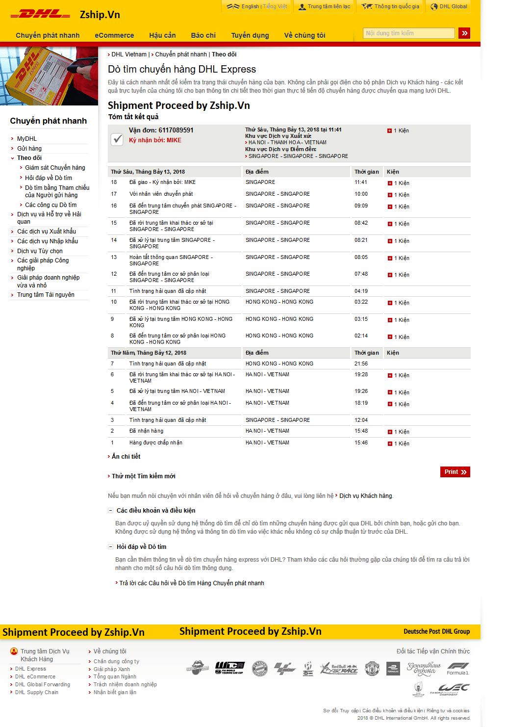 Hệ thống tracking DHL