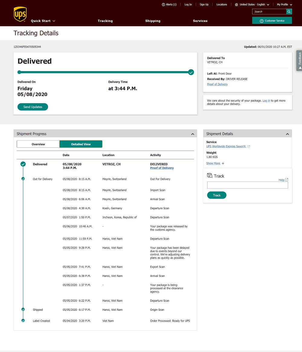 vận đơn UPS