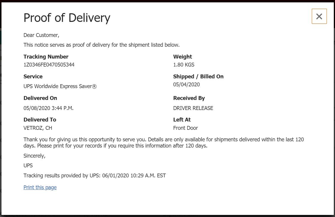 biên nhận giao hàng UPS