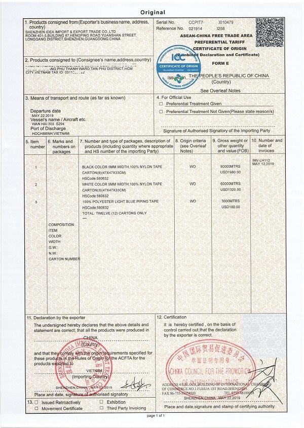 Thủ tục xin cấp C/O Form E
