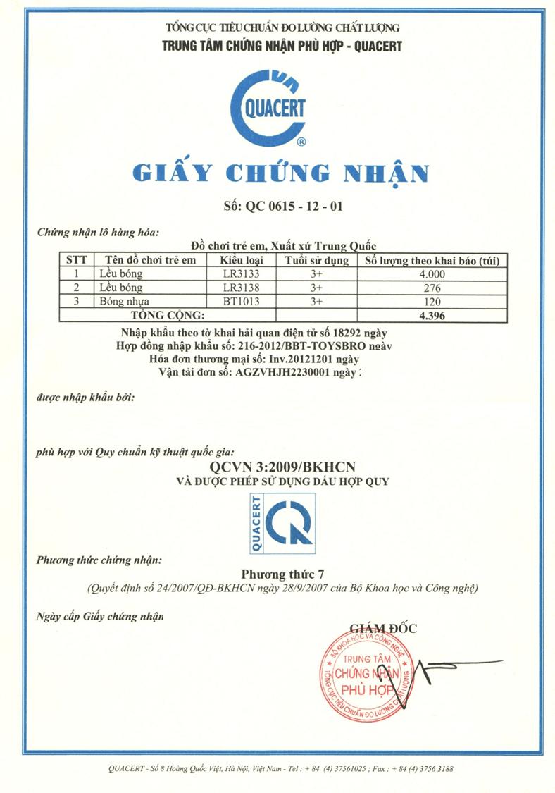 Thủ tục nhập khẩu đồ chơi cần có chứng nhận sản phẩm phù hợp quy chuẩn QCVN 3:2009/BKHCN